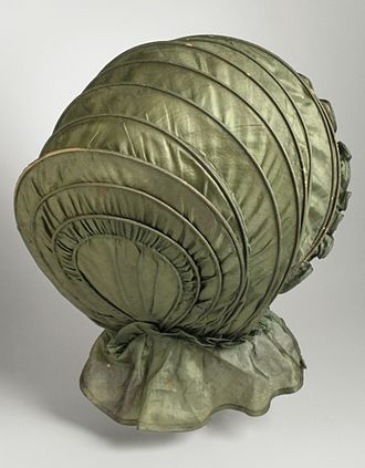 Bonnet (headgear) - Woman's Calash, c.1825. Green silk. Los Angeles County Museum of Art collection, M.87.93
