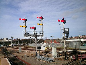 Worcester Shrub Hill railway station - Signals SH77 and SH78 are two examples of the Western Region's semaphore signals from the old British Rail days.