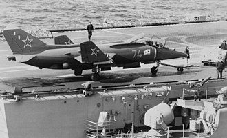 Shipborne rolling vertical landing - The Yak-38 used rolling landings on Soviet Navy carriers in the 1980s