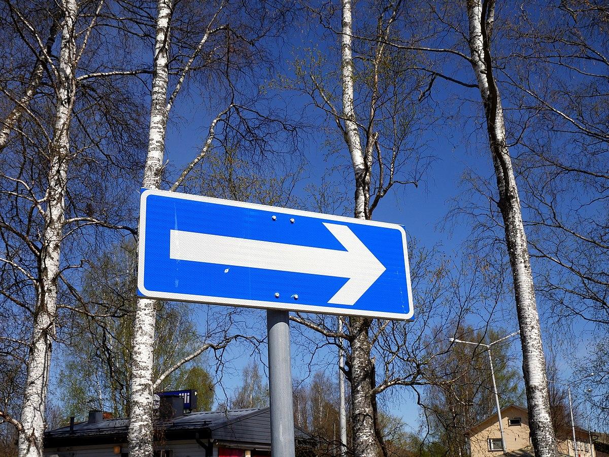 Yksisuuntainen Tie Liikennemerkki