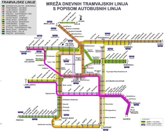 The ZET network of daytime tram lines in 2009 (Line 5 has since been extended to Maksimir, and Kapelska and Hanuseva stops have since been removed) ZET Zagreb.png