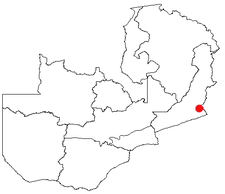 Location of Chipata in Zambia