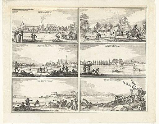 Zes scènes tijdens het beleg van Huis te Gennep, 1641, RP-P-OB-81.500H