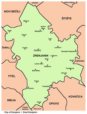 karta srbije zrenjanin Opština Zrenjanin   Wikipedia karta srbije zrenjanin