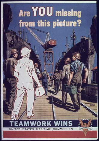 "United States Maritime Commission - ""Are you missing from this picture?"" WWII United States Maritime Commission poster"