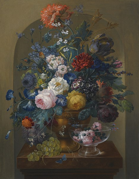 File:'Still Life of Flowers in an Urn Together with Cut Roses in a Glass' by Johann Baptist Drechsler.jpg