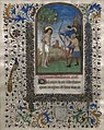 'The Martyrdom of Saint Sebastian', leaf from a Book of Hours, c. 1455, possibly French, tempera and gold leaf on vellum, Honolulu Academy of Arts.JPG