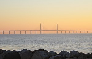 The Öresund bridge at sunset.