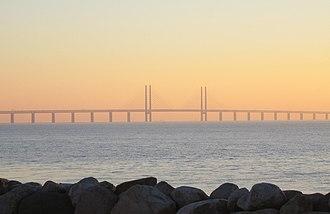 European route E20 - Image: Öresundsbron i solnedgång 2