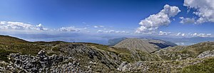 Ohrid-Prespa Transboundary Biosphere Reserve - View of mount Galičica and Lake Ohrid and Lake Prespa, the core area of the reserve