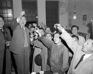 History of Taiwan since 1945 - Non-Kuomintang Taiwanese politician Wu San-lien (2L) celebrated his landslide victory (65.5%) in the first-time election for mayor of Taipei in January 1951 with his supporters.