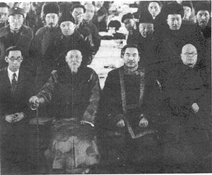 Burhan Shahidi - Burhan Shahidi (2nd row, 2nd from left) at the founding of the Association for the Advancement of Han Culture in Xinjiang in 1937, chaired by the governor Sheng Shicai (1st row, 3rd from left).