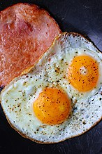 A close-up view of fried ham and eggs