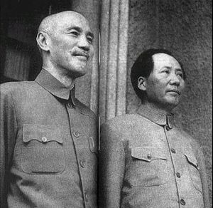 Mao suit - Chiang Kai-shek and Mao Zedong both wearing Zhongshan suits, in Chongqing 1945