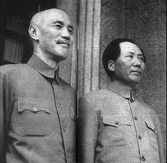 Chinese Civil War - Chiang Kai-shek and Mao Zedong in 1945