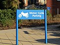 -2018-11-18 Motorcycle parking sign, Cromer and district Hospital, Mill Road, Cromer.JPG