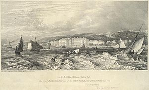 Beaumaris - Beaumaris from the sea in the 1840s