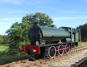 Hunslet Austerity 0-6-0ST - Hunslet 0-6-0ST Austerity WD198 'Royal Engineer' runs round her train at Wootton on the Isle of Wight Steam Railway
