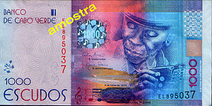 Cape Verdean escudo - 2014: new 1.000 CVE bank note with Codé di Dona (front)