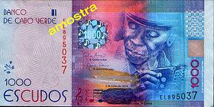 Cape Verdean escudo - 2014: new 1.000 CVE bank note with Codé di Dona (front)