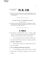 116th United States Congress H. R. 0000136 (1st session) - Federal Intern Protection Act of 2019 A -Introduced in House.pdf