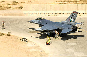 138th Fighter Wing - 125th Expeditionary Fighter Squadron - General Dynamics F-16C Block 32C Fighting Falcon, AF Ser. No. 86-1589, prepares to take off from Balad AB, Iraq, on 30 Sep 2008.