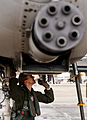 130110-f-oc707-003 Female Fighter Pilot Maj. Olivia Elliott completes preflight checks of her A-10 Thunderbolt II.jpg
