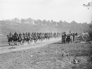 13th Light Horse Regiment (Australia) - 13th Light Horse Regiment, moving up past Gressaire Wood to participate in the attack that morning near Bray by the 9th Infantry Brigade.