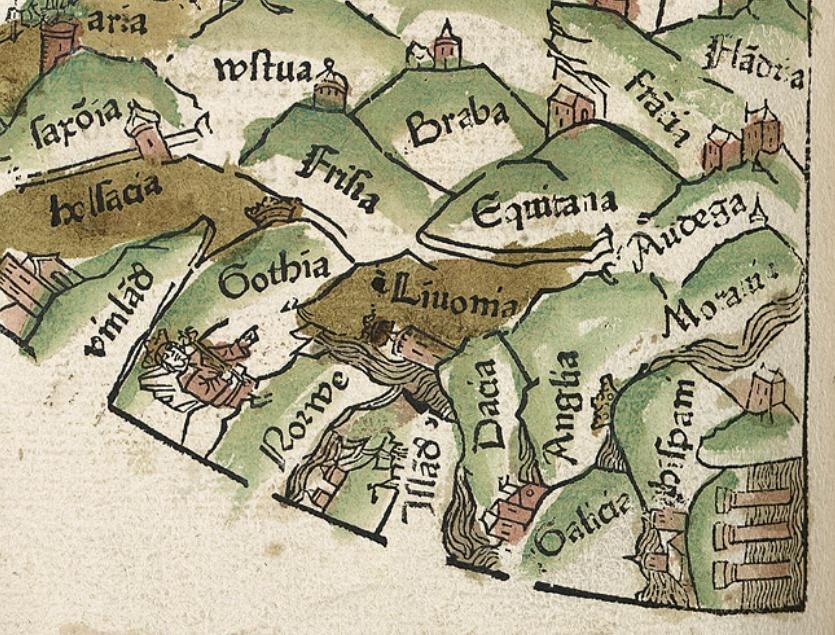 Detalle do mapa recollido no Rudimentum Novitorum de Lucas Brandis, onde se aprecía o nome de Galicia entre outras entidades como Hispani ou Anglia entre outros. Ano 1475.