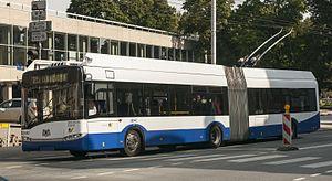 Rīgas Satiksme - Solaris trolleybus in Riga streets