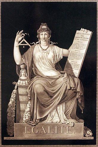 Igualdad: La mujer, alegoría de la justicia, lleva en su mano izquierda la Declaración de los Derechos del Hombre y del Ciudadano de 1789 - grabado de 1793 de Jean-Guillaume Moitte (1746-1810)
