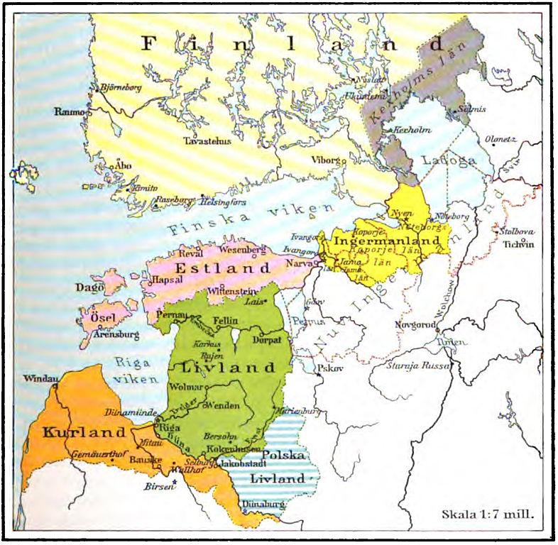 Karte baltische Länder 17. Jahrhundert