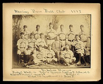 Sol White - 1887 Wheeling Green Stockings, with Sol White standing second from left.