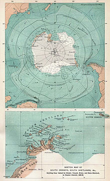 The upper of the two maps gives a projected outline of the then largely undiscovered coast of continental Antarctica, and shows its relations to the landmasses of South America, Africa and Australia. The lower map is an approximate representation of the Antarctic peninsula as envisaged in the late 19th century.