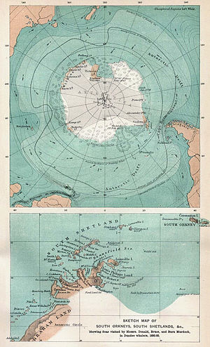 New South Greenland - 1894 maps of Antarctic regions showing the limited knowledge of Antarctic geography 70 years after Morrell. The lower map marks Ross's Appearance, but not New South Greenland