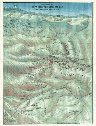 Gilpin County, Colorado - 1904 broadside bird's eye view or map of Gilpin County, Colorado, issued by the Gilpin County Chamber of Commerce and the Colorado map publisher George Samuel Clason