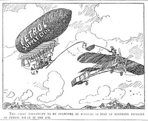 "Aerial refueling - ""The chief difficulty to be overcome in aviation is that of renewing supplies of petrol while in the air"" (Punch 1909)"