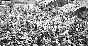 1934 Muroto typhoon - The storm's aftermath in Nishijin, Kyoto