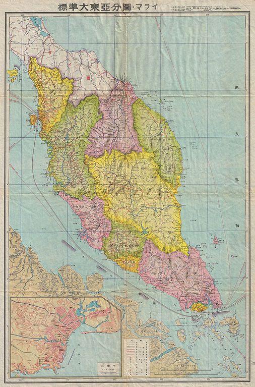 Map Japan World War 2. File 1942 Japanese World War II Map of the Malay Peninsula and Singapore  Geographicus Kamatchka japanese 1940 jpg