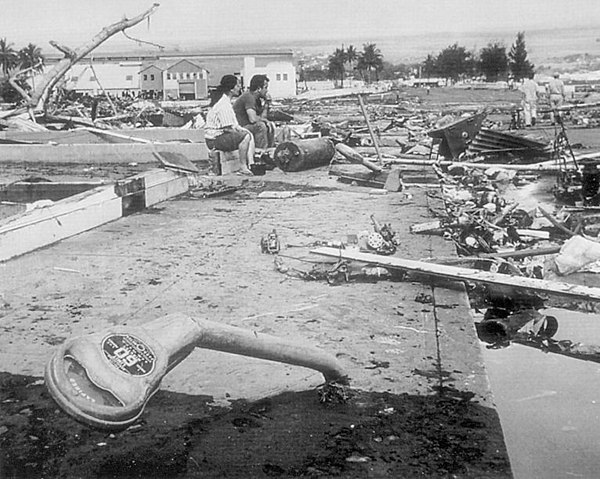 Aftermath of the 1960 Chilean tsunami in Hilo, Hawai`i, where the tsunami left 61 people dead and 282 seriously injured. The waves reached 35 feet (11 m) high. 1960-Chilean-tsunami-Hilo-HI-USGS.jpg