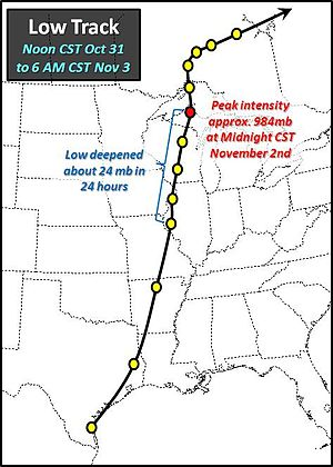 1991 Halloween blizzard - The track of the low pressure system that spawned the Halloween Blizzard