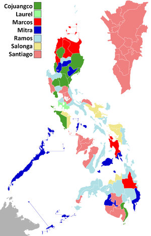 1992 Philippine presidential election result per province.png