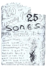 "A hand-written title page reading ""10 of Woody Guthrie's 25 Songs: Book One"""