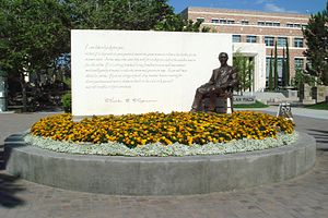 Chapman University - Sculpture of Charles C. Chapman, founder and namesake of Chapman University, created by sculptor Raymond Persinger