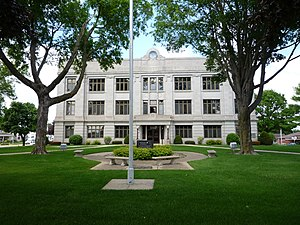 New Hampton, Iowa - Built in 1929, the Chickasaw County Courthouse serves as the center for county services.