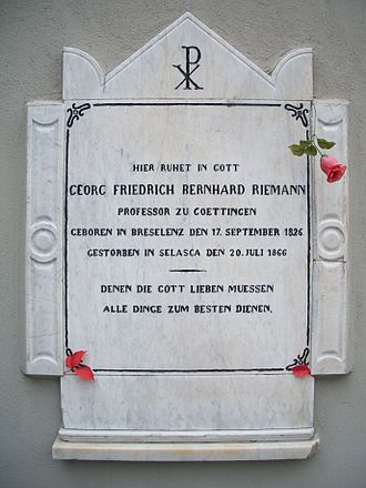 Bernhard Riemann - Riemann's tombstone in Biganzolo