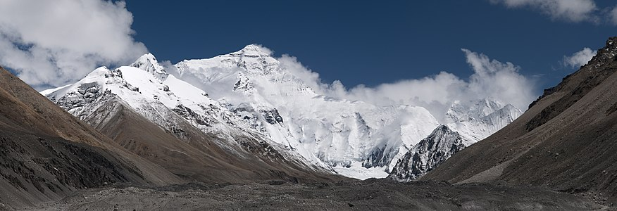 Mount Everest North Face as seen from the path to the base camp, Tibet.