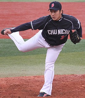 20130421 Yuta Mutoh, pitcher of the Chunichi Dragons, at Yokohama Stadium.JPG
