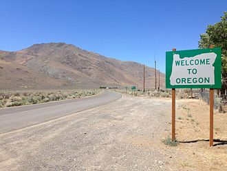 Oregon - Oregon border welcome sign at Denio, Nevada