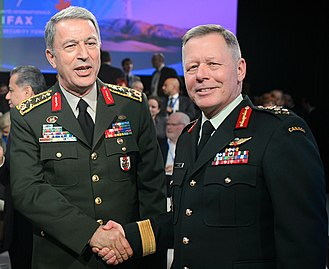 Jonathan Vance - Vance (right) and Hulusi Akar (left), Chief of the Defense Staff of the Turkish Armed Forces, at the Halifax International Security Forum 2017